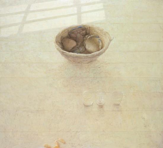 vloerstilleven met mand met krabben